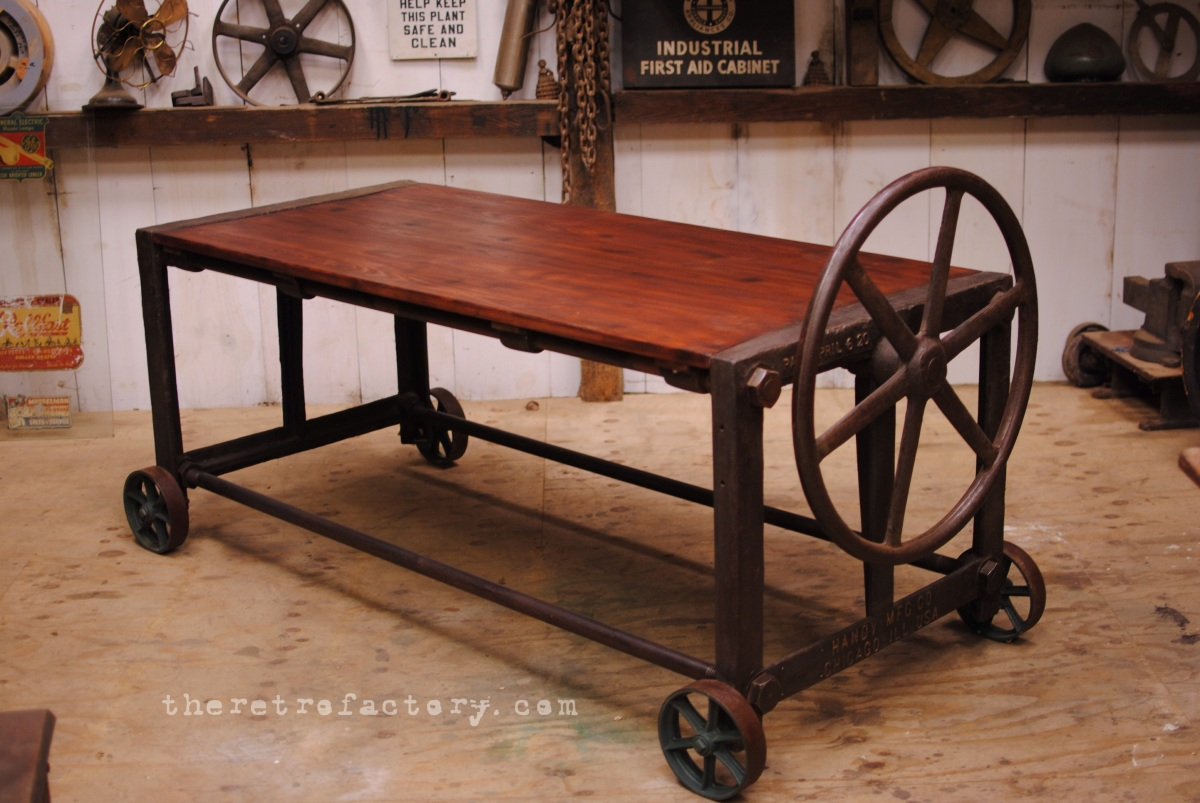 1930 S Vintage Industrial Clamp Table Desk Conference Table