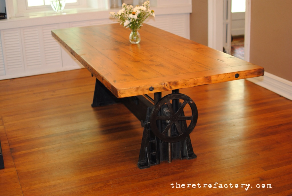 Vintage Industrial Adjustable 1940 S Crank Table