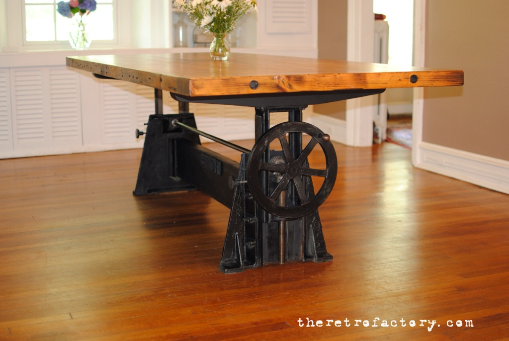 vintage industrial adjustable 1940 s crank table. Black Bedroom Furniture Sets. Home Design Ideas