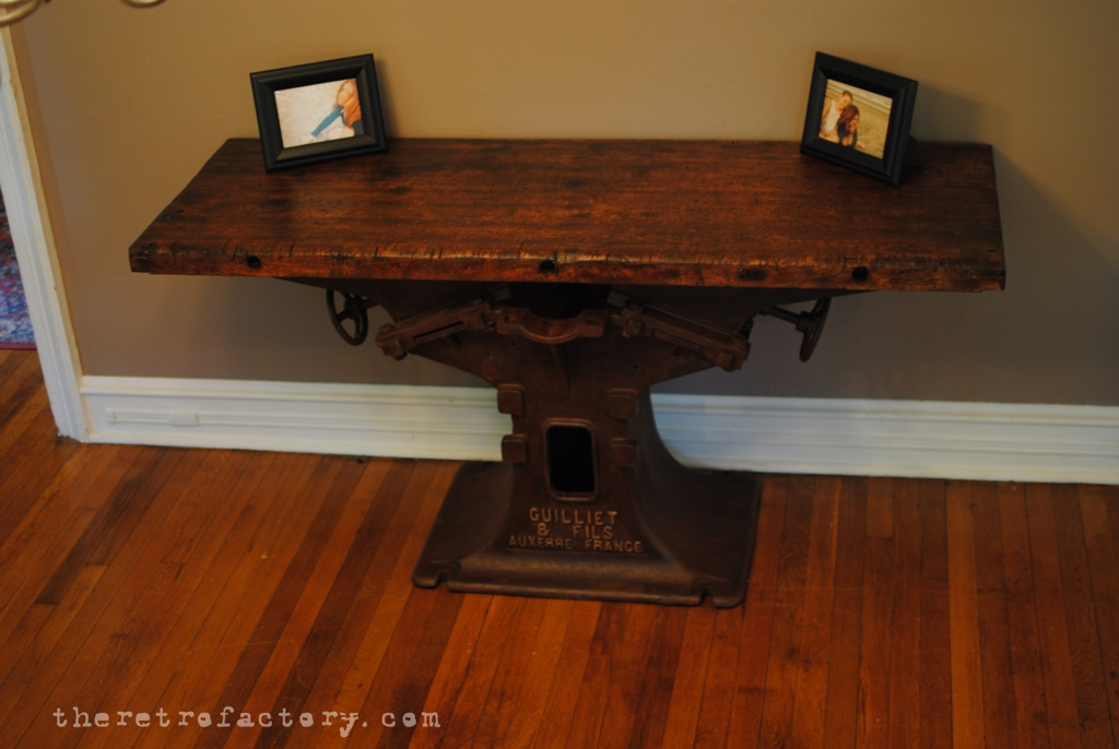 Antique French Industrial Console Table